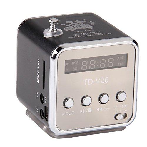 TD-V26 Tragbare Mini Digital Stereo Lautsprecher Speaker Sprecher Mp3 Musik Player FM Radio Micro SD TF (Digital Fm Tragbares Radio)