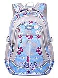 Happy Cherry Schulrucksack Blumen Schulranzen Schultasche Sports Rucksack Freizeitrucksack Daypacks Backpack für Mädchen Jungen Kinder Damen Herren Jugendliche-Blau