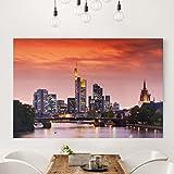 Bilderwelten Leinwandbild - Frankfurt Skyline - Quer 2:3, Leinwand Leinwandbild XXL Leinwanddruck Wandbild, Größe HxB: 60cm x 90cm