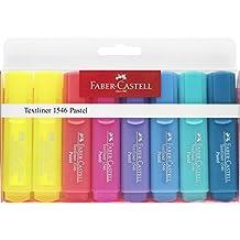 Faber-Castell 154681 - Estuche con 6 marcadores fluorescentes tonos pastel y 2 marcadores amarillos con tonalidad normal Textliner 1546, multicolor