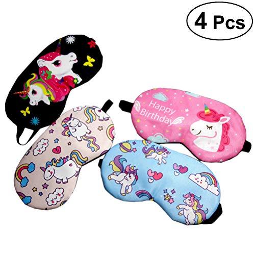Frcolor Cubierta de máscara de sueño máscara de Ojo de Unicornio con los Ojos vendados Parche de Ojo para Dormir para niños 4 unids (Negro + Rosa Rojo + Rosa + Azul)