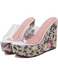 GLTER Mujeres Bombas Verano Nuevo Cristal Transparente Pegamento Flor De Estilo Bohemio Zapatillas Pendiente Zapatos De Tacón Alto Sandalias Al Aire Libre , pink , 36