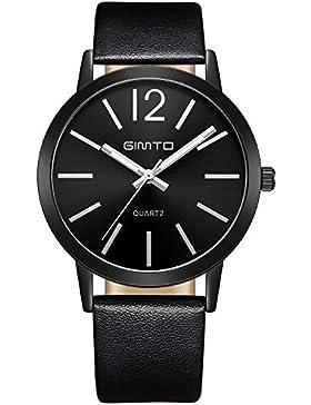 Analoge Quarz-Armbanduhr Frauen beiläufige Art und Weise Stil Scratch Resistant Gesicht Uhrenarmband Leder (weiß...