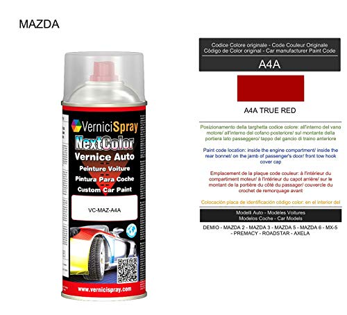 VerniciSpray A4A TRUE RED Auto-Lack im Spray, 400 ml