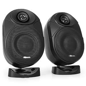 Power Dynamics PD-ISF5W Paire d'enceintes PC ou TV - Haut parleurs Master/Slave (120 W, 13 cm, montage mur ou plafond) - noires
