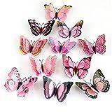 Wandtattoo Wand Jamicy® 3D Schmetterling Wand Aufkleber Kühlschrank Magnet Raum Dekor Aufkleber Applique Für Kinderzimmer Wohnzimmer Toilette Küche 12pcs / 1 Satz (Rosa)