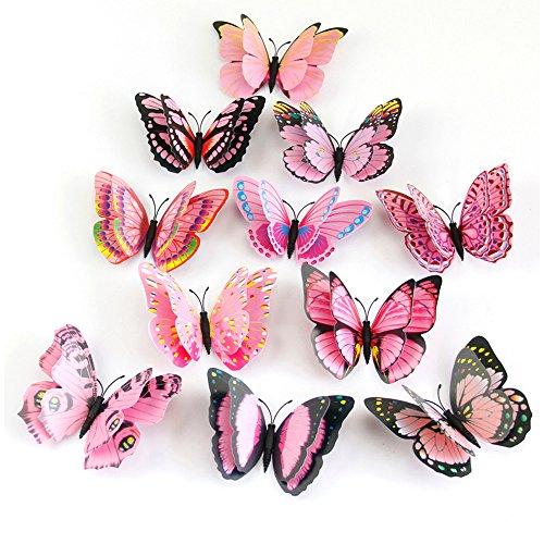 Wandtattoo Wand Jamicy® 3D Schmetterling Wand Aufkleber Kühlschrank Magnet Raum Dekor Aufkleber Applique Für Kinderzimmer Wohnzimmer Toilette Küche 12pcs / 1 Satz (Rosa) -