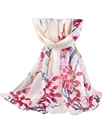 Cinnamou Mode Femmes Imprimé Oiseau Fleurs Doux En Mousseline de Soie Châle  Wrap Wraps Écharpe De 31d6c8c117e
