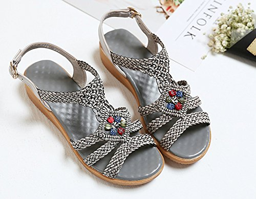 Wealsex damen sandalen bequem sommer schuhe Silber