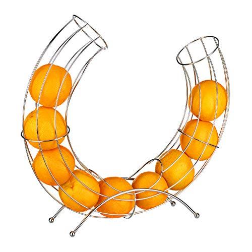 Relaxdays Früchtekorb Metall für Apfel u. Orange, moderner dekorativer Obstkorb, platzsparender Fruchtspender, silber