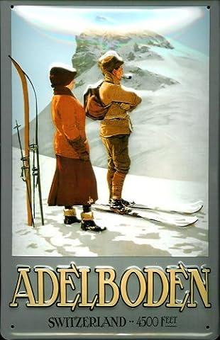 Adelboden suisse 4500 feet rahmenlos plaque en tôle signe de tin en métal de 20 x 30 cm