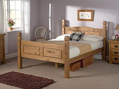 Snuggle Beds Corona Antique Pine High Foot End Slatted Bed Frame
