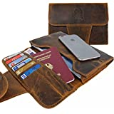PREMIUM Herren Reise-Organizer aus Leder - Reise Wallet im A5 Format als Reisepasshülle Travel Etui für Tablet, Bordkarte, Ticket, Ausweis, Reisepass, Passport im Vintage Look Braun - IP09 Corno D'Oro