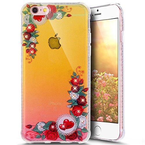Paillette Coque pour iPhone 6/6S,iPhone 6S Coque en Silicone Glitter, iPhone 6S Silicone Coque fleurs de cerisier roses Housse Transparent Etui Gel Slim Case Soft Gel Cover, Ukayfe Etui de Protection  Red Rose
