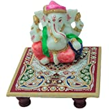 """Marble Kundan Studded Peacock Pooja Chowki With Lord Ganesha / Ganapathi / Vinayaka Idol Pink City Handicraft For Home Decor Gift Item - 4X4 Inches"""
