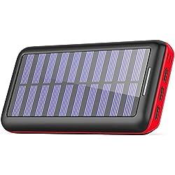 KEDRON Batteries Externes 24000mAh Chargeur Solaire Portable avec Deux Entrées et 3 Ports USB de Power Bank Batterie pour Smartphone, et Autres…