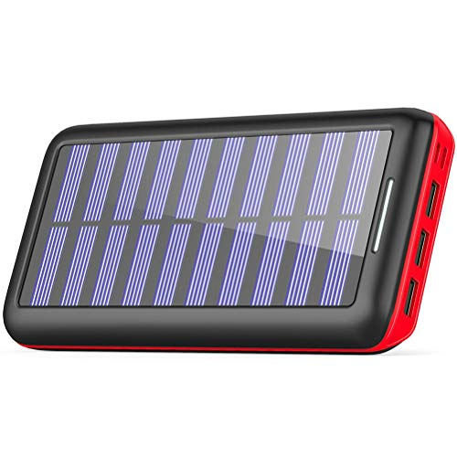 KEDRON Externer Akku 24000mAh Solar Powerbank, Solar Ladegerät mit 3 Ausgänge und Lighting & Micro Dual Input Power Bank Handy für iPhone, iPad, Samsung Galaxy und andere Smartphones(Rot)