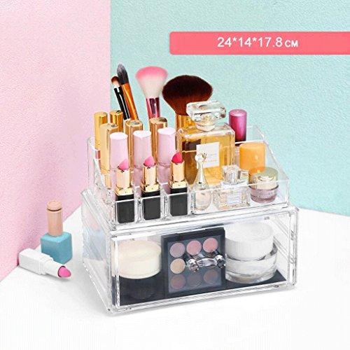 UOMUN Étui de Maquillage Cosmétique Organisateur Tiroirs Clair Non-Acrylique Maquillage Boîte de Rangement Coiffeuse Table Cosmétique Boîte Maquillage Porte-Brosse Grand Espace