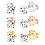 Finest Imitation Diamond 925 Solid Sterling Silver Stud Earrings (3 Pair Multi Pack - Silver, Rose Gold & Gold)