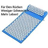 Yukio 2018 Testsieger Rückenschmerzen Blumenfeld Akupressurmatte 38x62cm Akupressur-Set Entspannungsmatte inkl. Kissen (Blau)
