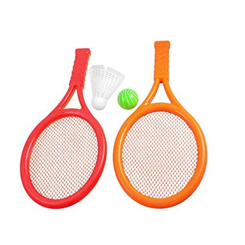 Ndier Kinder Spielspiel Orange Rot Kunststoff Tennis Badminton Schläger Spielzeug Set für Outdoor & Indoor Sport Aktivitäten