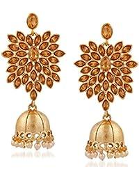 Meenaz Jewellery Traditional Gold Plated Kundan Crystal Chandbali Jhumka Jhumki Earrings For Women -164