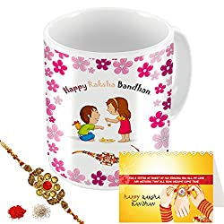 Aart Store Happy Raksha Bandhan Multi Colours Printed Mug, Greeting Card, Rakhi, Roli, Chawal Gift Pack for Brothers/Sisters to Enjoy Raksha Bandhan Festival.