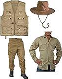 normani Entdecker Kostüm Safari-Edition Dschungel-Kostüm mit Safariweste, Tropenhemd, Hose und Dschungelhut Farbe Coyote Größe XL