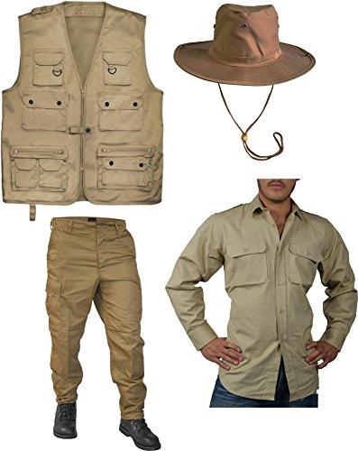 Entdecker Kostüm Safari-Edition Dschungel-Kostüm mit Safariweste, Tropenhemd, Hose und Dschungelhut Farbe Coyote Größe (Coyote Kostüme)