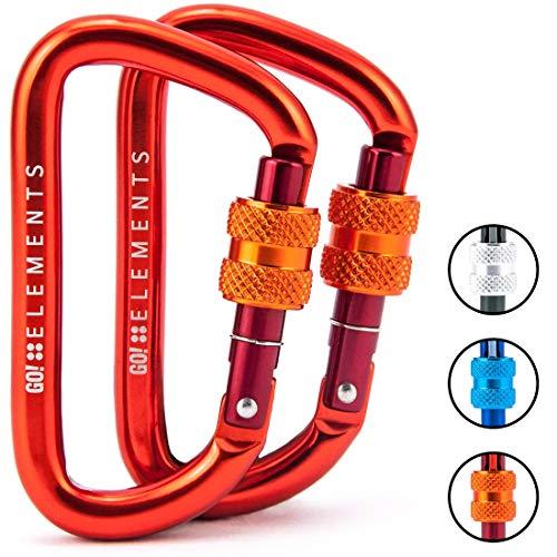 GO!elements 12KN Karabiner Strong 8 mit Schraubverschluss im 2er Pack in verschiedenen Farben (PYRO) Orange