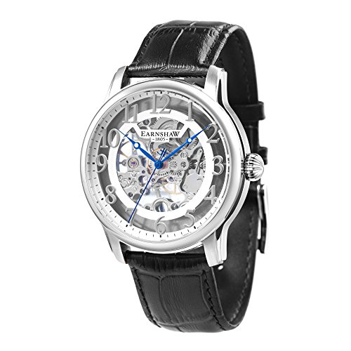 Thomas Earnshaw Longitude ES-8062-04 Montre mécanique pour homme Avec cadran argenté à mécanisme apparent et bracelet en cuir noir
