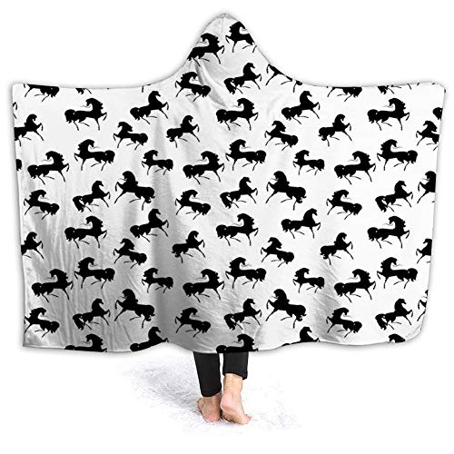 YOWAKi Ultra-Soft Micro Fleece Soft and Warm Throw Hooded Blanket,Horses,Farm Animal Silhouettes with Various Poses Galloping Trotting Cantering and Loping,60