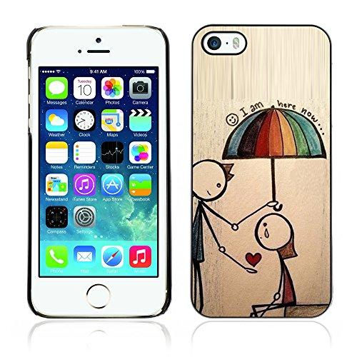 Graphic4You I Am Here With You Niedlich Ehepaar Regen Liebe Regenschirm Design Harte Hülle Case Tasche Schutzhülle für Apple iPhone 5 und 5S Design #2