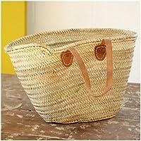 Large Moroccan Shoulder Shopping Basket - Shoulder Flat Leather Handles - W52 D20 H34 - LIMITED SUMMER OFFER -