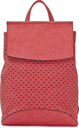 Stylischer Damen Rucksack - Damentasche mit Schulterriemen - Daypack mit Rautenmuster- 21 x 27 x 17,5 cm - Rote Schultertasche von MIYA BLOOM