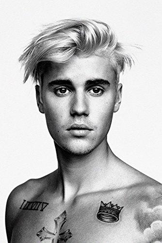 TST INNOPRINT CO Justin Bieber Body Tattoos Schwarz und Weiß Poster 20x30 inches