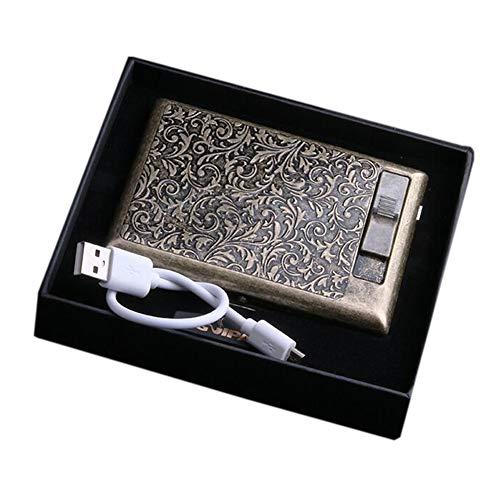 Pitillera de metal - paquete completo de 20 unidades Vintage Carving Bronce caja de cigarrillos con encendedor eléctrico Protable (Floral)