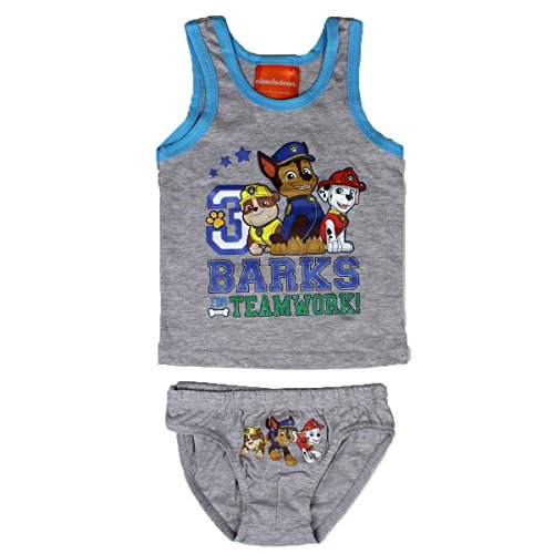 PAW Patrol 2tlg. Set Jungen Unterwäsche Hemd Slip grau (92/98) (Nickelodeon Mädchen Unterwäsche)
