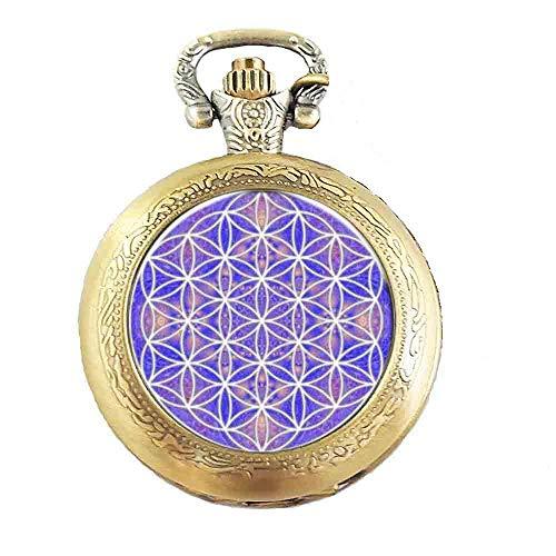 skette mit Blume des Lebens-Design,antiker Bronze-Effekt,in Geschenkbox mit Ersatzbatterie ()