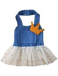 Robe de princesse pour chiens Elyseesen Chien chat arc Tutu jupe Pet Puppy Dog vêtements Costume Princesse habit