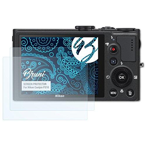 Bruni Schutzfolie kompatibel mit Nikon Coolpix P310 Folie, glasklare Displayschutzfolie (2X)