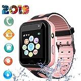 Niños Smart Watch Phone – GPS Reloj para Niños Niñas de 3-12 años con Llamada de Voz Chat SOS Juego de Cámara Linterna Reloj Despertador Reloj Infantil Regalos de Cumpleaños (S7-Rosa)
