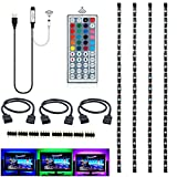 Topled Light®Bias Lighting per HDTV USB LED Kit striscia multicolore RGB LED neon sistema di illuminazione d'accento per TV LCD a schermo piatto, PC desktop(Nero)
