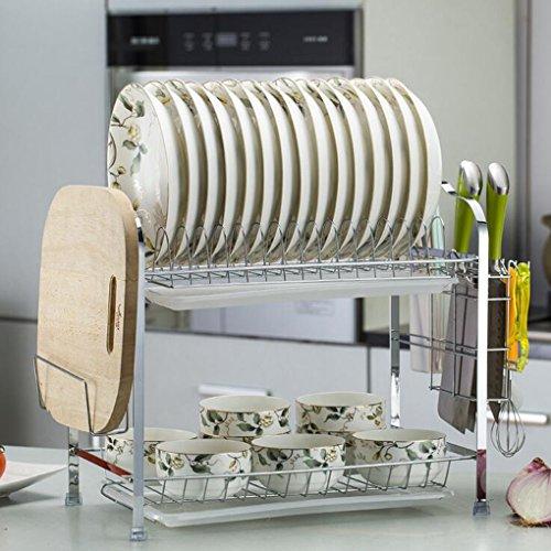 Acier Inoxydable Plat À Vaisselle Cuisine Utilisation Quotidienne Étagère Double Couche Égouttoir Simple Mettre L'égouttoir 43 * 25 * 37.6Cm,B