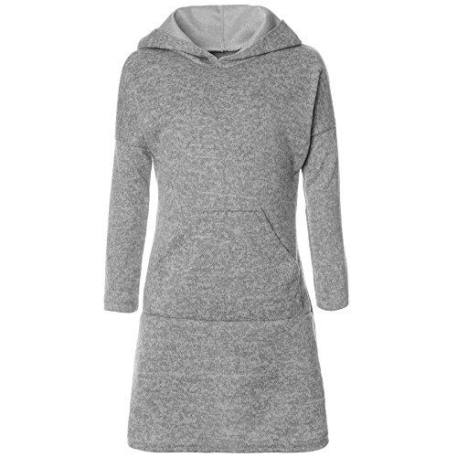 BEZLIT Mädchen Pullover Kleid Long Tunika Langarm Kapuze 21579 Grau Größe 164