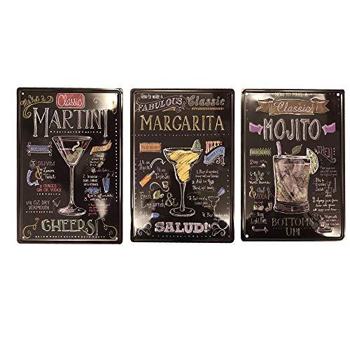 DEEPPRO come Fare Un Classico Margarita Mojito Martini Retro Metal Sign Tin Sign Retro Vintage Anticata Pub Poster Metal Wall Targa in Metallo (Confezione da 3)