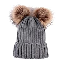 Clode Baby Beanie, for 0-3 Years Old Newborn Cute Keep Warm Winter Beanie Bobble Hats Knitted Double Pom Pom Hemming Hat (Grey)