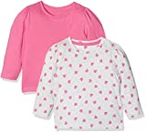 Mothercare Grey and Pink Heart-2 Pack, T-Shirt Bébé Fille, Rose, 18 Mois