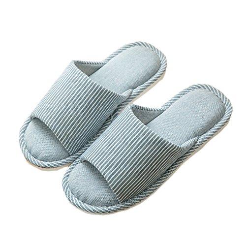 Zapatillas de estar por casa Hombre Antideslizante Memoria Espuma Slippers Pantuflas Algodón Para el verano de otoño Para Piso (41-42 Hombre, Azul claro)