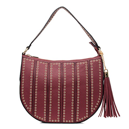 Damen Handtaschen Schulter Messenger Bag Niet Handtaschen Red